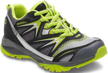 Merrell otroški čevlji Capra Bolt Low Lace WP Jr, sivi/zeleni, 38