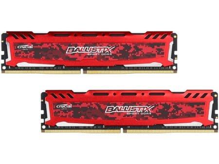 Crucial Ballistix Sport LT Red 8GB (2x4GB) DDR4 Memória, 2400 Mhz