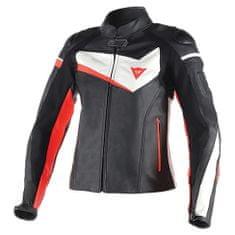 Dainese dámská kožená bunda na motorku  VELOSTER LADY černá/bílá/fluo červená