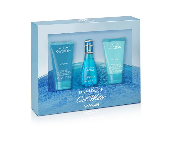 Davidoff Cool Water Woman - EDT 30 ml + sprchový gel 50 ml + tělové mléko 50 ml