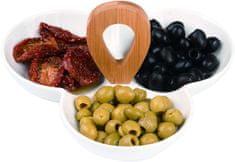Alpina 97927 Párty stolní porcelánová miska na chuťovky, 3 oddíly