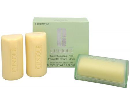 Clinique Čistiace mydlo na tvár pre zmiešanú až mastnú pleť 3 ks (Three Little Soaps Oily Skin Formula) 3 x 5
