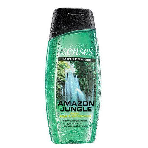Avon Posilující sprchový gel na vlasy a tělo pro muže (Senses Amazon Jungle) (Objem 500 ml)