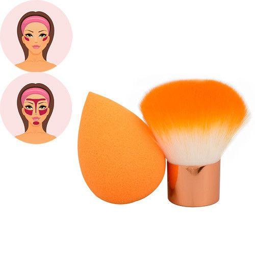 Sefiros Oranžový set pudrovacího štětce a houbičky na make-up Pastell (Kabuki Brush & Blender)