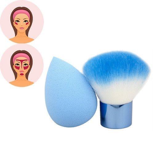 Sefiros Modrý set pudrovacího štětce a houbičky na make-up Pastell (Kabuki Brush & Blender)