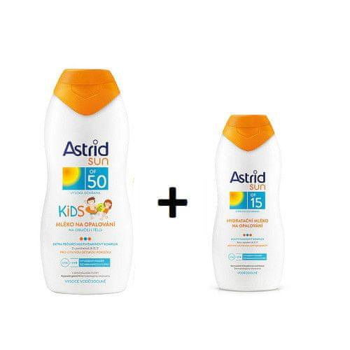 Astrid Dětské mléko na opalování OF 50 200 ml + Hydratační mléko na opalování OF 15 100 ml SUN