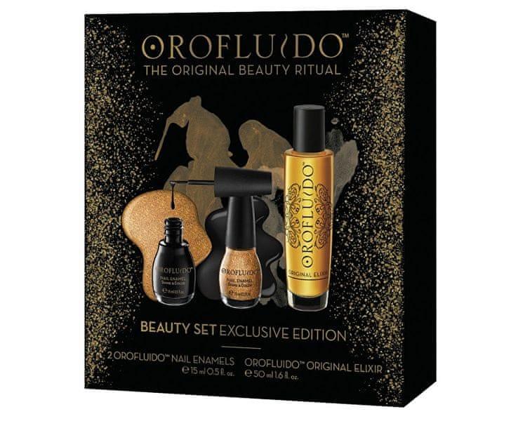 Orofluido Zlatý dárkový set s elixírem a laky na nehty