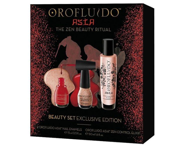 Orofluido Červený dárkový set s elixírem a laky na nehty