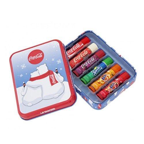 Lip Smacker Sada balzámů na rty v krabičce s medvědy (LS Coca-Cola Polar Bear Tin Box) 6 x 4 g