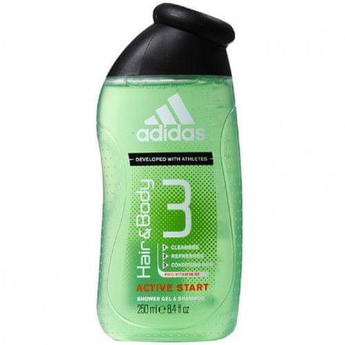 Adidas Sprchový gel a šampon pro muže 3 v 1 Hair & Body Active Start (Shower Gel, Shampoo, Face Wash) (Obje