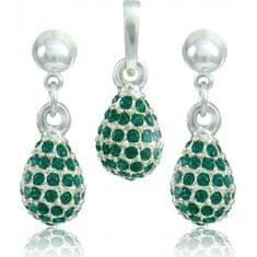 MHM Souprava šperků Kapka M4 Emerald 3485 stříbro 925/1000