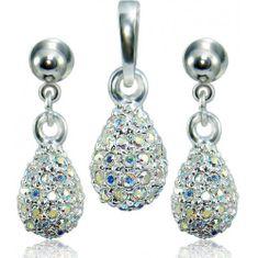 MHM Souprava šperků Kapka M4 Crystal AB 3484 stříbro 925/1000