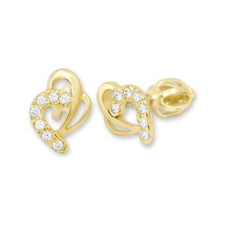 Brilio Zlaté náušnice srdce s kryštálmi 239 001 00583 - 1,30 g