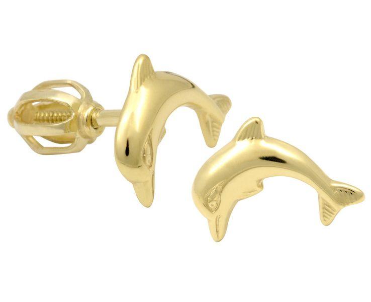 Brilio Zlaté dámské náušnice delfínci 231 001 00519