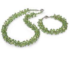 JwL Jewellery Set náhrdelník s náramkom zelený JL0068