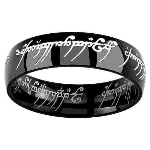 Silvego Černý ocelový prsten moci z Pána prstenů a Hobit RRC5623 (Obvod 52 mm)