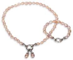 JwL Jewellery Súprava náhrdelníku a náramku z pravých ružových perál JL0130