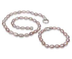 JwL Jewellery Súprava náhrdelníku a náramku z pravých ružových perál JL0137