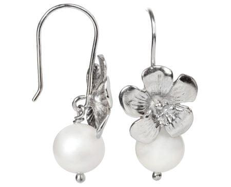 JwL Jewellery Stříbrné náušnice s pravou bílou perlou JL0119