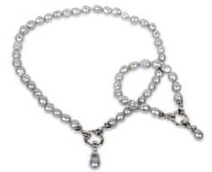 JwL Jewellery Súprava náhrdelníku a náramku z pravých šedých perál JL0131