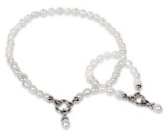 JwL Jewellery Súprava náhrdelníku a náramku z pravých bielych perál JL0132