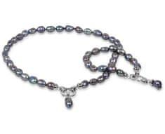 JwL Jewellery Súprava náhrdelníku a náramku z pravých kovovo modrých perál JL0133