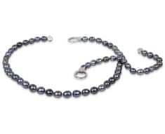 JwL Jewellery Súprava náhrdelníku a náramku z pravých kovovo modrých perál JL0136
