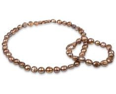 JwL Jewellery Súprava náhrdelníku a náramku z pravých zlatohnedých perál JL0163