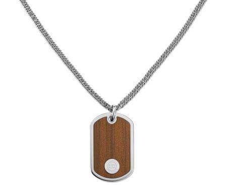 Tommy Hilfiger Oceľový náhrdelník Psie známka s imitáciou dreva TH2700692