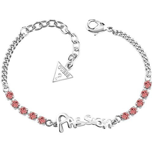 Guess Náramek s nápisem a růžovými krystaly UBB61004-S