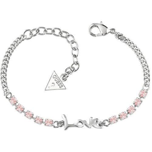 Guess Náramek s nápisem a růžovými krystaly UBB61007-S