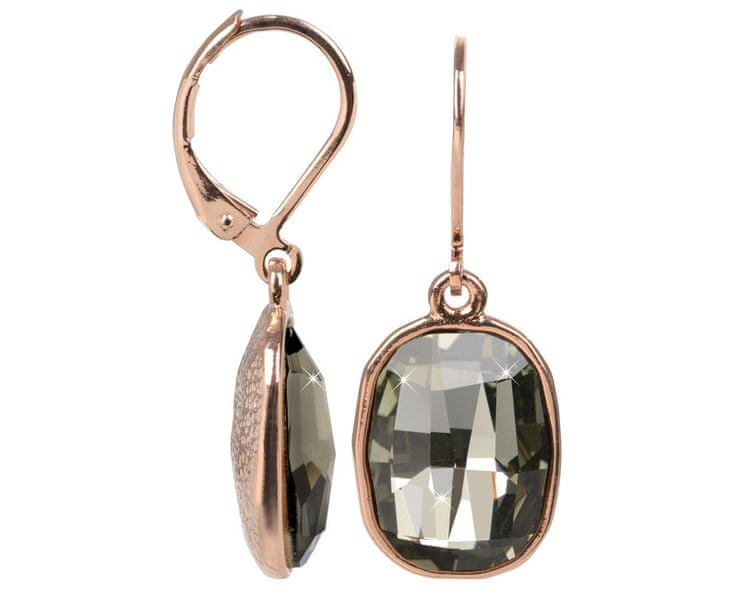 Troli Bronzové náušnice Graphic Black Diamond