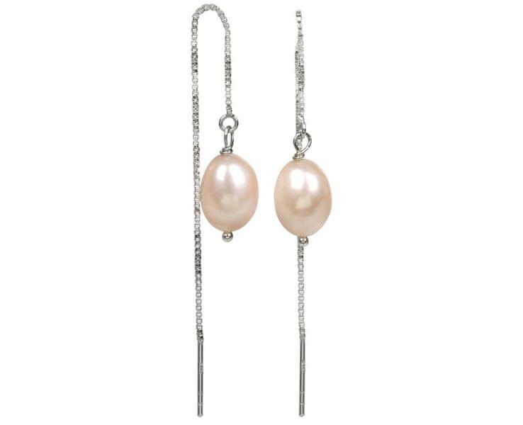 JwL Jewellery Stříbrné řetízkové náušnice s lososovou perlou JL0205