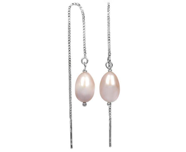 JwL Jewellery Stříbrné řetízkové náušnice s růžovou perlou JL0206