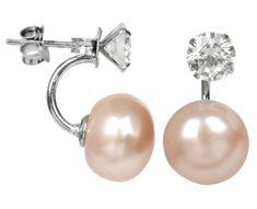 JwL Luxury Pearls Stříbrné dvojnáušnice s pravou lososovou perlou a krystalem JL0216 stříbro 925/1000