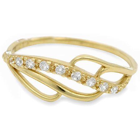 Brilio Zlatý prsten s krystaly 229 001 00624 (Obvod 56 mm)