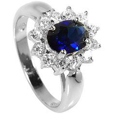 Brilio Silver Strieborný prsteň s modrým kryštálom 5121615S