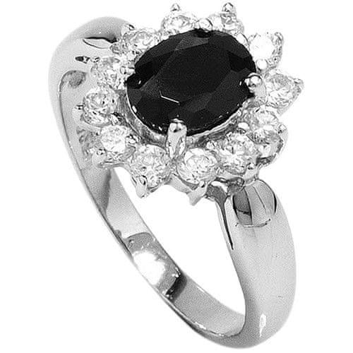 Brilio Silver Stříbrný prsten s černým krystalem 5121615B (Obvod 58 mm)