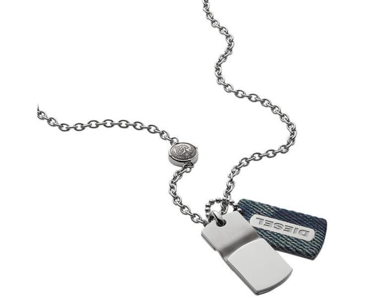 Diesel Pánský náhrdelník s denim přívěskem DX0980040