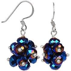 JwL Luxury Pearls Zářivé náušnice z broušených tmavě modrých krystalů JL0270 stříbro 925/1000