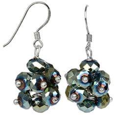 JwL Luxury Pearls Zářivé náušnice z broušených zelených krystalů JL0272 stříbro 925/1000
