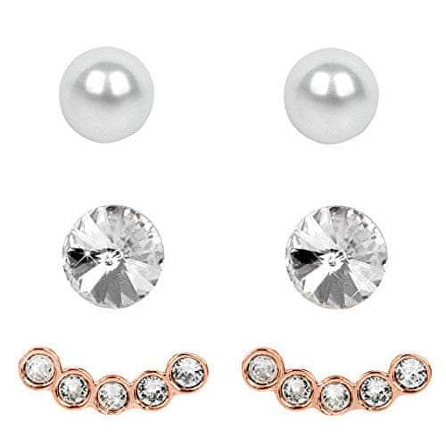 Levien Náušnice Set Ear Cuff 4 v 1 Rose Gold Crystal White