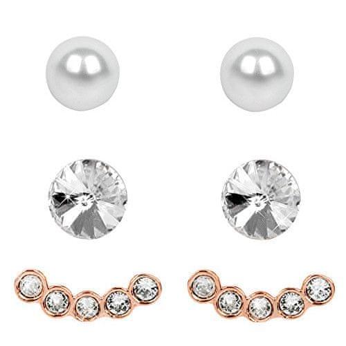 Levien Náušnice Set Ear Cuff 4 v 1 Rose Gold Crystal White