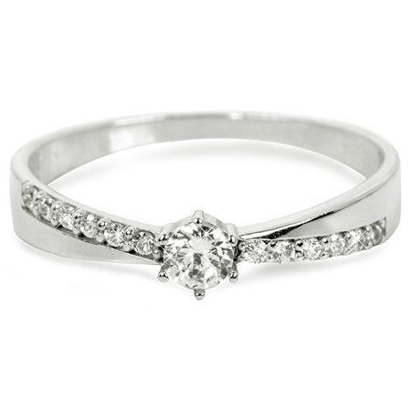 Brilio Prsten z bílého zlata s krystaly 229 001 00697 07 (Obvod 57 mm)