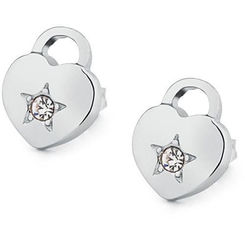 S'Agapõ Náušnice zámečky ve tvaru srdce Estrella SRE37
