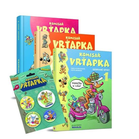 Etrychová Pavla, Morkes Petr: Komisař Vrťapka - Sebrané spisy 1-3 (komplet 3 knihy + odznáčky)