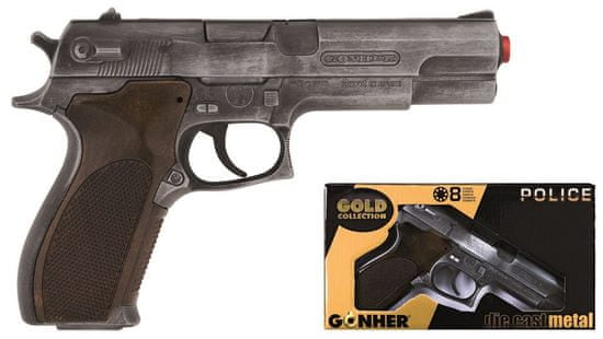 Gonher Policajná pištoľ Gold colection strieborná kovová 8 rán