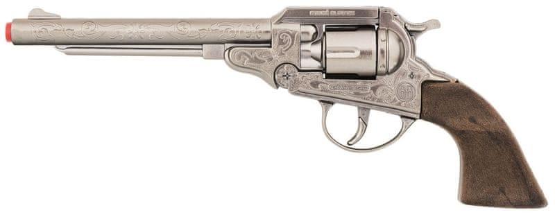 Gonher Revolver kovbojský stříbrný, kovový 8 ran