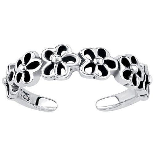 Silvego Stříbrný prsten na nohu s květinami PRMR11673