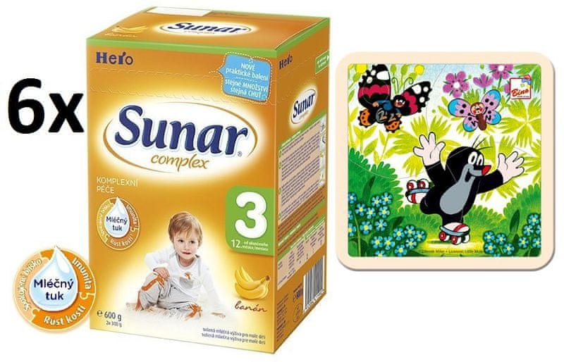 Sunar Complex 3 banán - 6x600g + Puzzle Krtek na bruslích